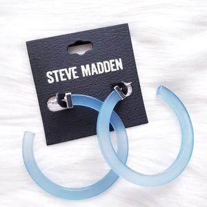 Steve Madden Acrylic C Hoop Post Blue Earrings